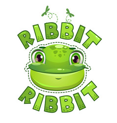 Cute t shirt print for kids with frog face vector