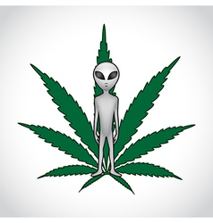 ET and cannabis leaf vector image vector image