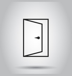 exit door in line style icon on isolated vector image