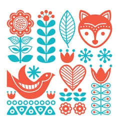 Finnish inspired folk art pattern - nordic vector