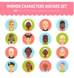 Flat women and girls character avatars collection vector