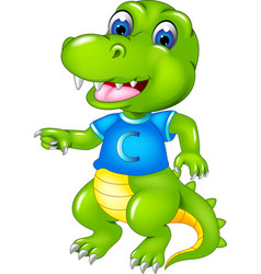 Funny crocodile cartoon dancing with smile vector