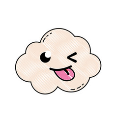 Grated funny and cute cloud kawaii weather vector