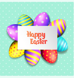 happy easter eggs and text on colored background vector image