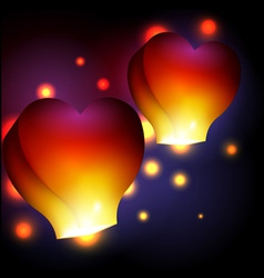 Heart shaped sky lanterns vector