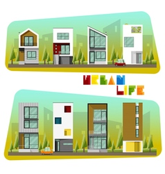 Houses collection modern house and community vector