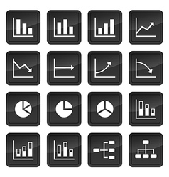 Icons of various charts and diagrams with black vector image vector image