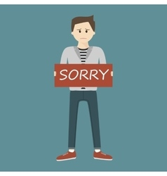 Man Holding Sorry Sign vector image