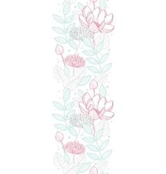 Modern line art florals vertical border vector