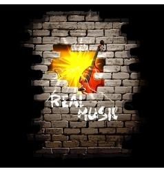 Musical breakthrough in brick wall uno vector