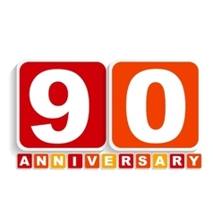 Ninety 90 years anniversary label sign for your vector