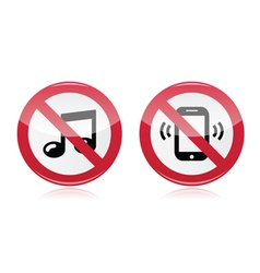 No music no noise red warning sign - vector image vector image