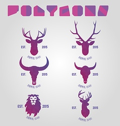 Polygonal hipster logo with heads of deer buffalo vector