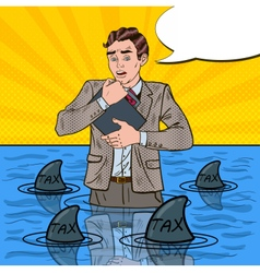 Pop art helpless businessman swimming with sharks vector