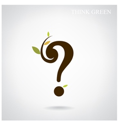 Question mark and think green concept vector