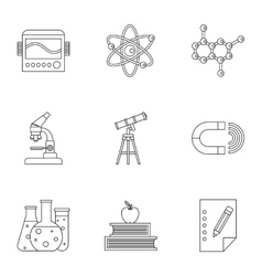 Science education icons set outline style vector