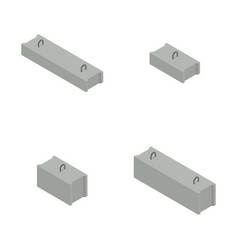 Set of concrete blocks in isometric vector