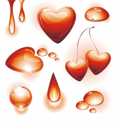 set of red water design vector image