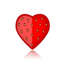 strawberry heart shape vector image
