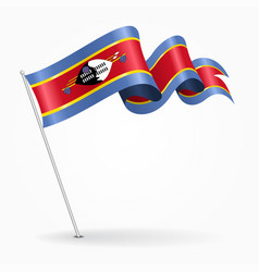 Swaziland pin wavy flag vector