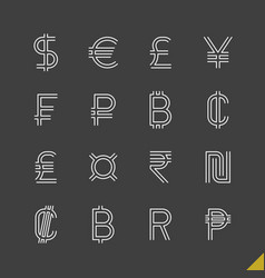 thin linear world currency symbols icons set with vector image vector image