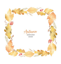 Watercolor square frame of leaves and vector