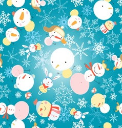 Winter pattern with snowmen vector