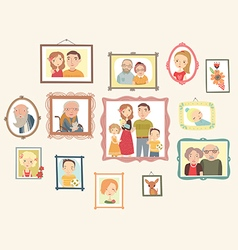 Family portrait gallery vector