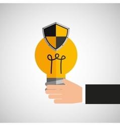 Hand holds bulb idea protection shield vector