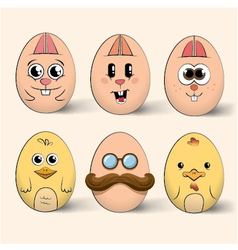 Easter egg characters vector image