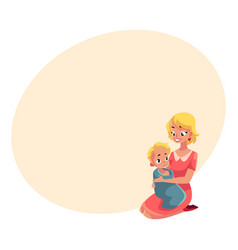young mother holding her baby wrapped in towel vector image