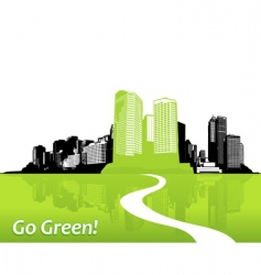 City with green grass art vector