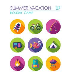 Summer camping flat icon set holiday vector