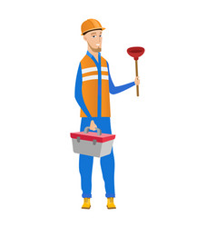 Caucasian plumber holding plunger and tool box vector