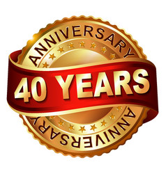 40 years anniversary golden label with ribbon vector image