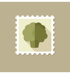 Cauliflower flat stamp with long shadow vector
