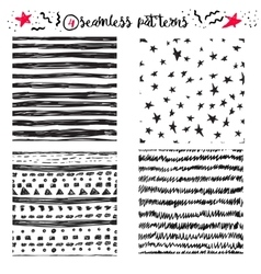 hand drawing cute samless patterns vector image
