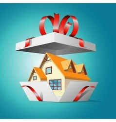 Real estate in a gift box vector