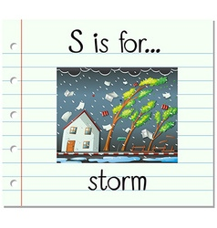 Flashcard letter s is for storm vector