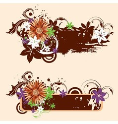 Grugne floral banners vector