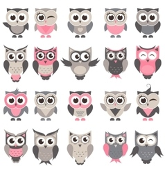 Cute owls and owlets set vector