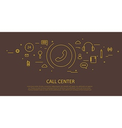 Call center flat thin design vector