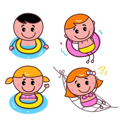 Happy swimming kids set vector