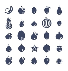 Exotic tropical fresh fruits flat silhouette vector
