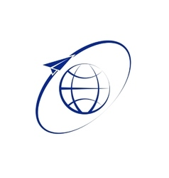 Airplane fly around the planet earth logo vector