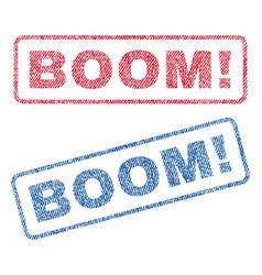 Boom exclamation textile stamps vector