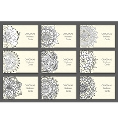 Business Cards set with abstract pattern vector image