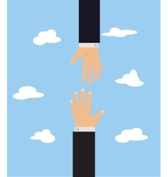 cartoon with two hands on blue vector image vector image