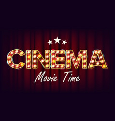 Cinema movie time banner vintage cinema 3d vector