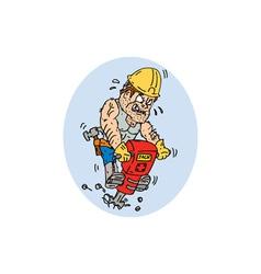 Construction worker jackhammer drilling cartoon vector